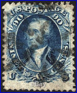 U. S. #72 90c Blue 1861 Rare VF Used with Horizontal Plate Flaw CV $600+