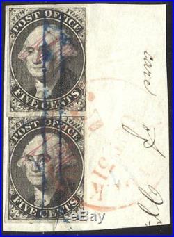 U. S. #9X1 Used PAIR 1845 5c Black, Provisional