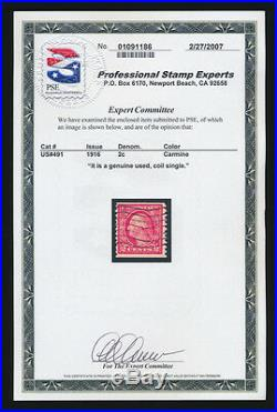 U. S. Scott #491 (FVF) withPSE Cert (Genuine Used, Coil Single) Sound