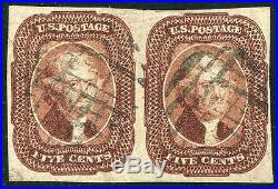 UNITED STATES Sc. # 12 1851 Jefferson Used Stamp Pair