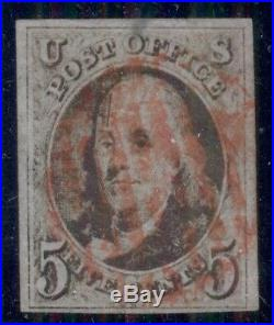 US #1 5¢ brown, used withlight red grid cancel, VF 4 margin stamp Scott $425.00
