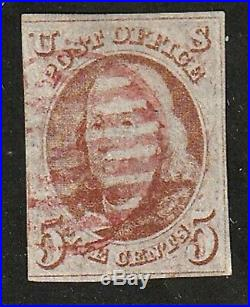 US #1 5c red brown Franklin 1847 used red cancel clear margins clean back $1100