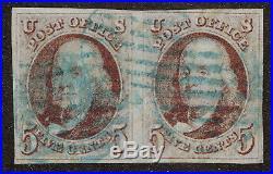 US # 1 Pair 5c Ben Franklin. Blue Grid cancel. 4 full margins Red-Brown. PF Cert