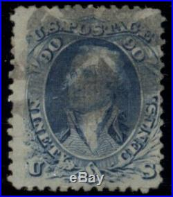 US #101, 90¢ blue F Grill, used withseveral small faults, Weiss cert Scott $2250