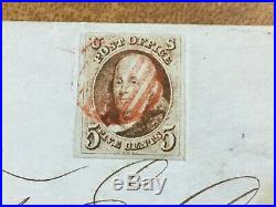 US 1847 #1 Ben Franklin 5c on 1850 cover Weiss certificate Cleveland Ohio FLS