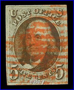 US 1847 Franklin 5c dark red brown, bluish paper Scott #1 used VF red cancel
