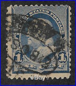 US #219v (1890) 1c Benjamin Franklin Blue Used EFO Flame on 1s VG