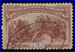 US #242, $2.00 Columbian, used withlight cancel, vertical crease, Scott $525.00