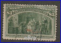 US, #243, $3 yellow green, lite cancel sound, 4 margins used terrific $850