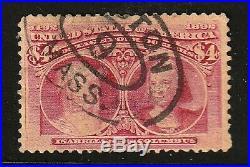 US 244a CARMINE ROSE VARIETYCOLUMBIAN SCARCE USED BOSTON CANCEL PRETTY $1200