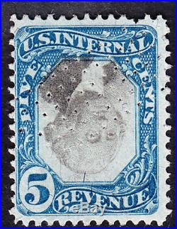 US R107a 5c 2nd Issue Revenue Inverted Center Used F-VF SCV $4000