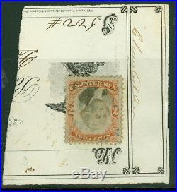 US #R135b 2¢ orange & black, INVERTED CENTER, used on piece, VF, PSAG cert