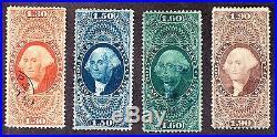 US R77c, R78c, R79c, R80c Lot of 1st Issue Revenue Stamps Used SCV $472