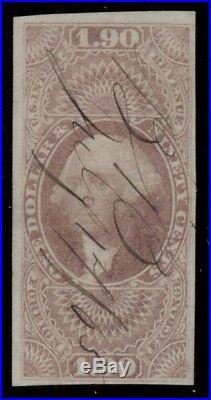 US #R80a $1.90 Foreign Exchange, Imperf, used, VF Miller cert rare Scott $12,500