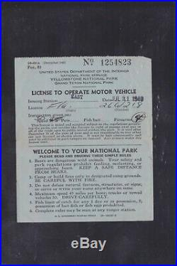 US Revenues #RVT2 $1 Trailer Permit Stamp Yellowstone Cancel On 1949 License