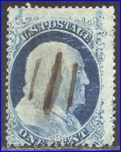 US Sc# 23 USED 1c FRANKLIN With PSE CERT PEN CANCEL SCARCE OF 1857 CV$ 900.00