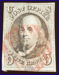 US Scott #1 1847 5c Used 4 Large Margins Top of Adjacent Stamp Visible on Bottom