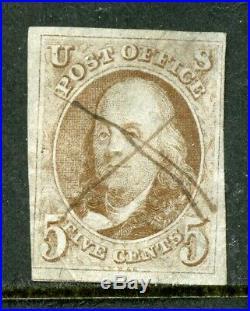 US Scott 1 Franklin used stamp pen cancel