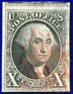 US Scott # 2 Used 4 Large Margins with PSE Certificate GRADED VF 80