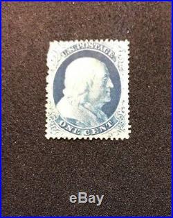 US Stamp Scott #22 Blue 1857 Franklin Used