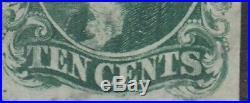USA Scott #13 10ct Type I Used Barely Cancelled RARE CV $900