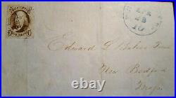 Us stamps 19th century used Scott #1 4 margin XF on folded letter CV 600.0