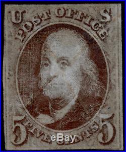 Used US Scott #1,1847 5c Franklin Stamp Light Pen Cancel