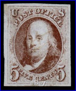 Used US Scott #1 1847 5c Stamp 4 Large Margins Light Pen Cancel