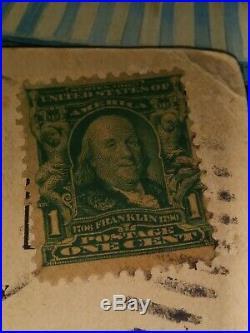Vintage Ben Franklin Stamp 1 Cent US Postage 1908 w Postcard used