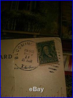 Vintage Ben Franklin Stamp 1 Cent US Postage 1908 w Postcard used but unmarked