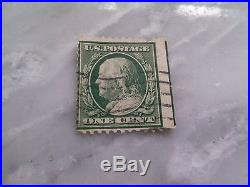 Vtg Collectible US Postage Stamp Ben Franklin 1 Cent Green RARE GRN BORDER ERROR