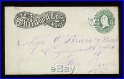 Whitney & Co's Express Cover To San Francisco Ca Blue 1874 Town Cancel W Cert